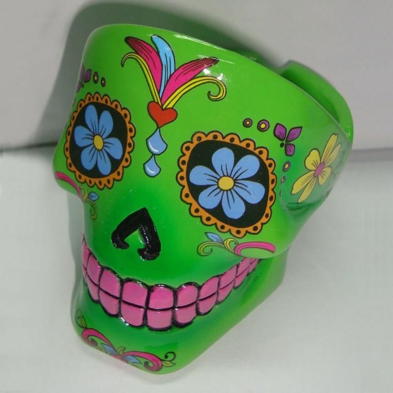 Cendrier Tte De Mort Mexicaine En Cramique Peinte Sur