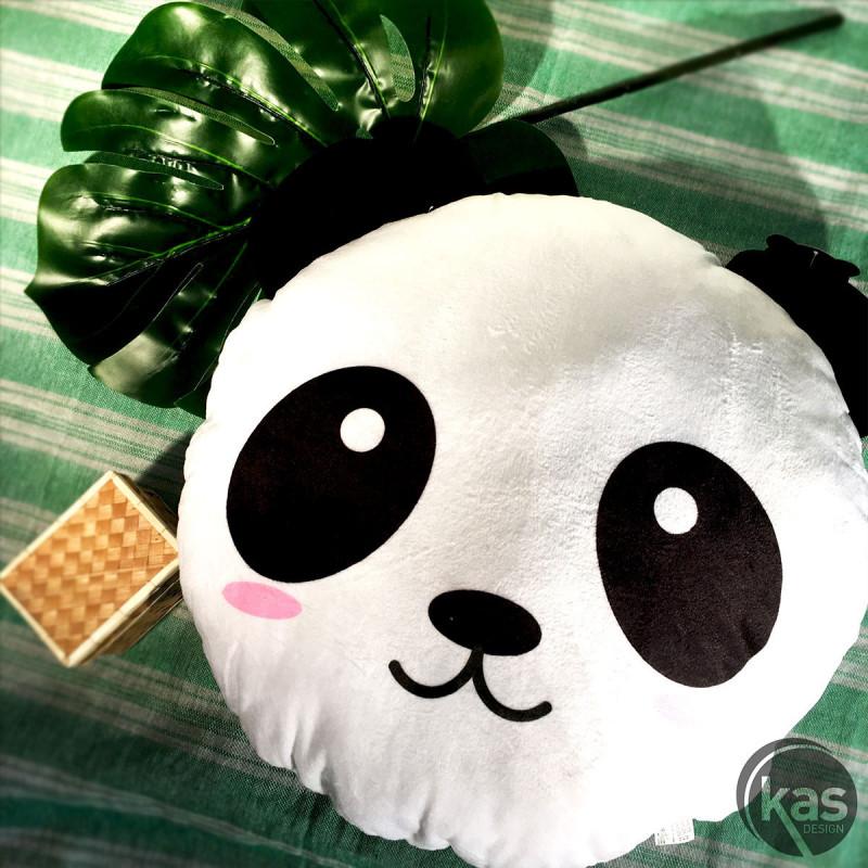 Coussin panda noir et blanc de forme ronde sur Logeekdesign