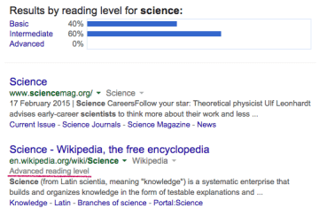 Google reading level filter - discontinued in 2015