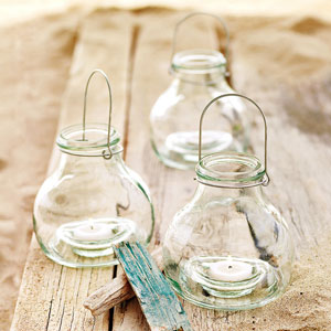 Recycled glass votive lanterns from loghome.com