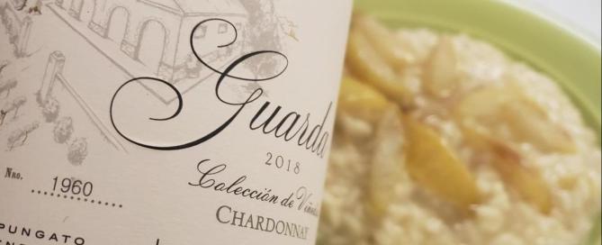 Risotto de Peras con queso Brie y Lagarde Guarda Chardonnay 2018