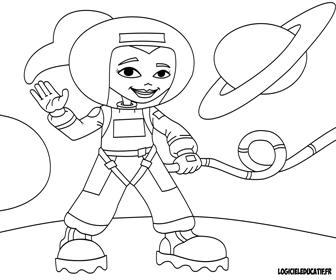 Coloriage fille de l'espace