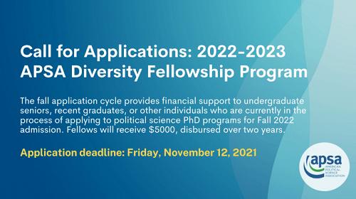 American Political Science Association Diversity Fellowship 2022