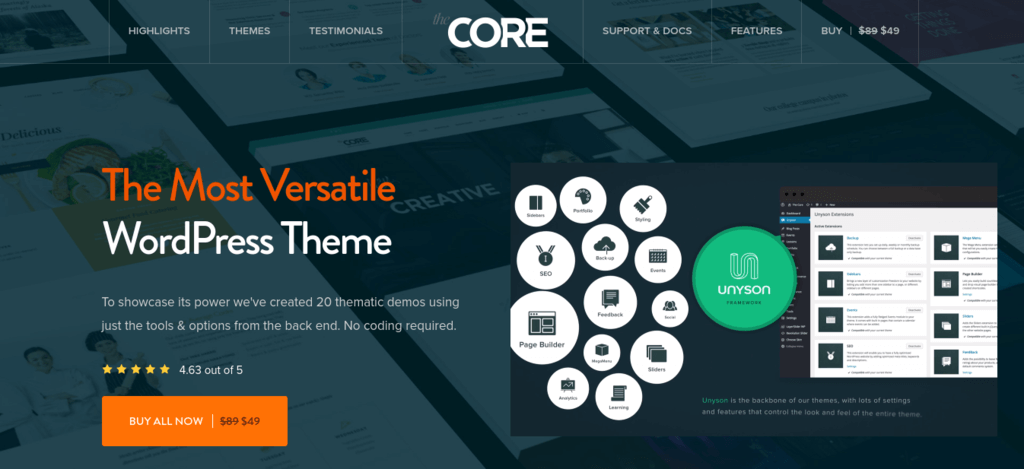 The Core – Creative & Multipurpose WordPress Theme
