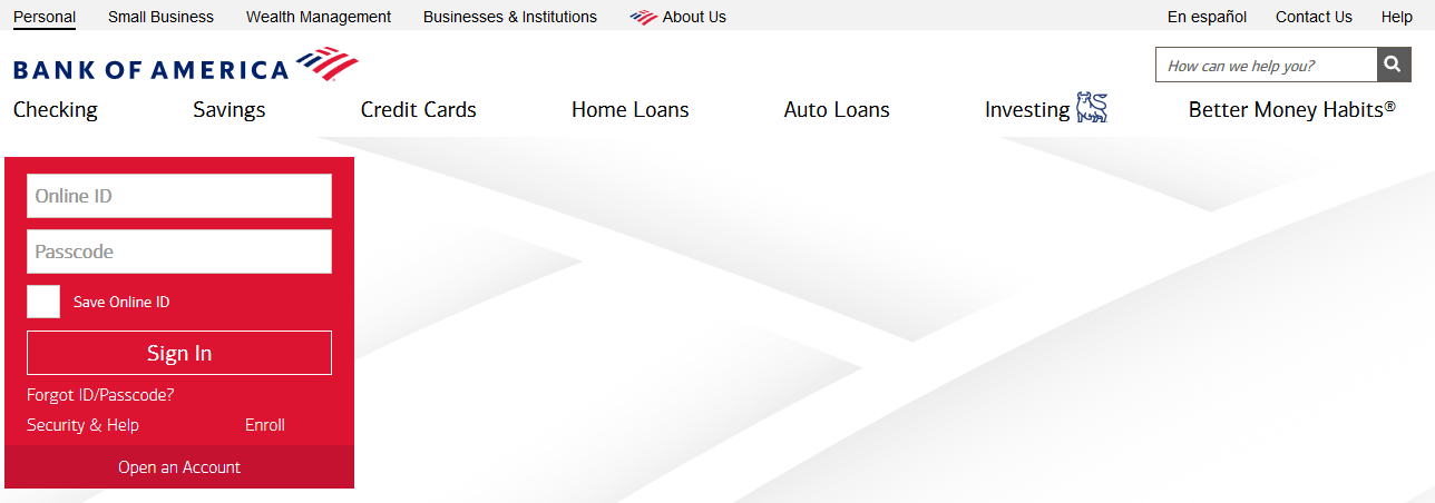 bank of america personal home page login