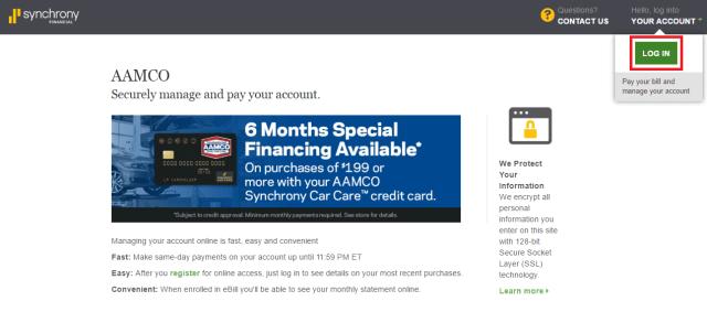 AAMCO-Credit Card Account Login