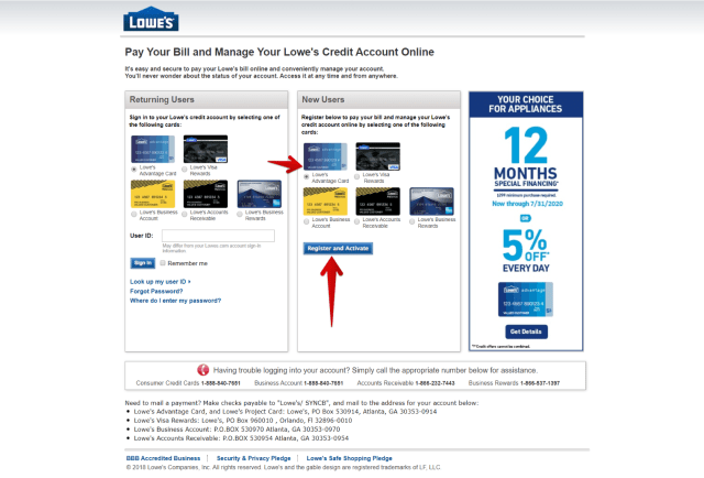 Lowes Advantage Card Activate Page
