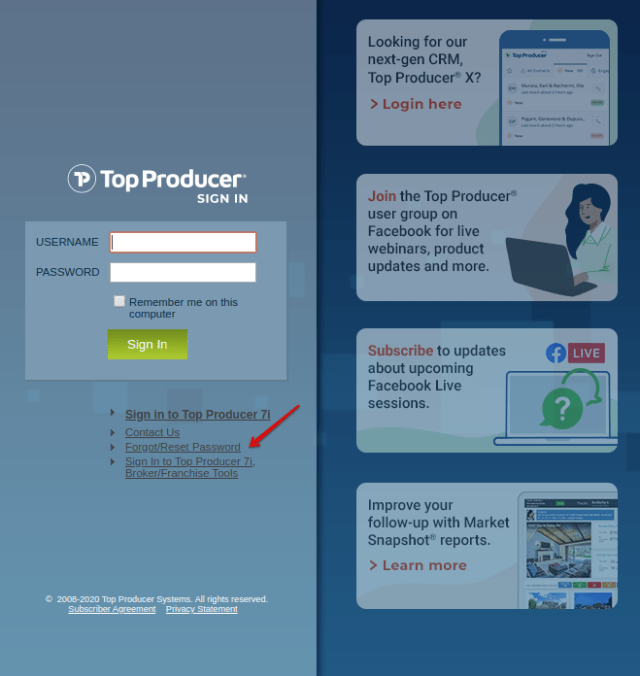 TopProducer8i - Reset Password
