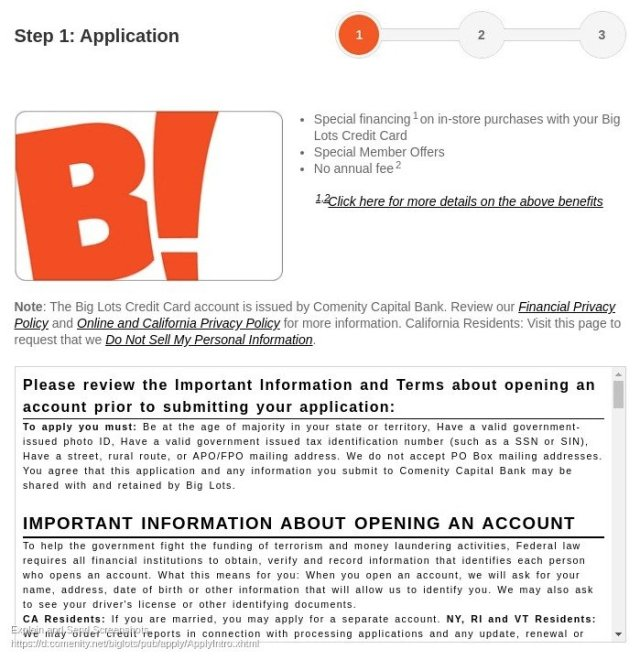 Big Lots Application Page