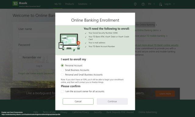 TD Bank Online Banking Enrollment