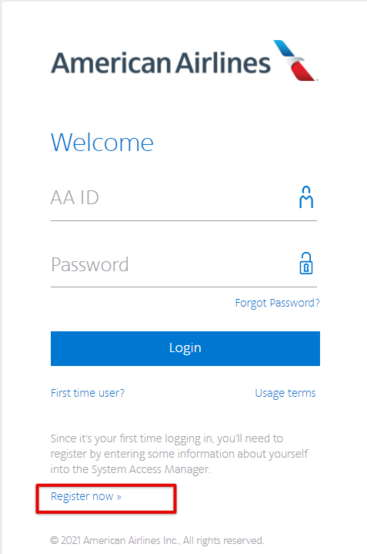 AA Jetnet Register now option