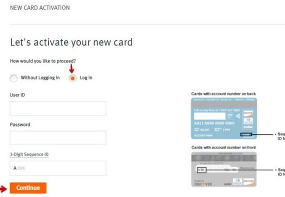 Activate Discover Card with login