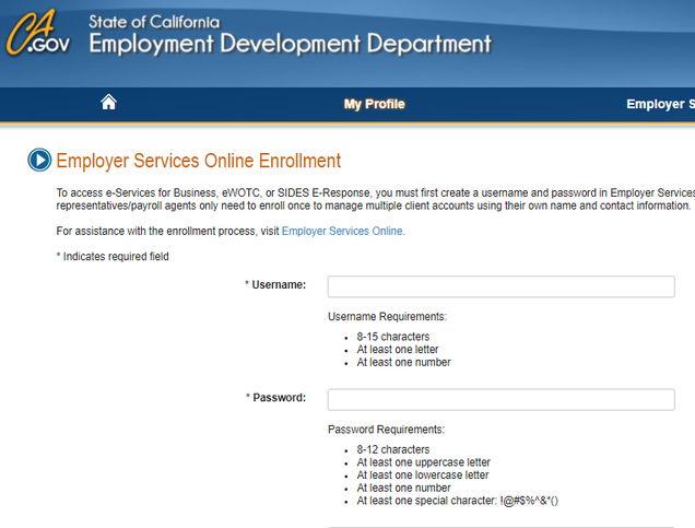 EDD Employer Online Enrollment