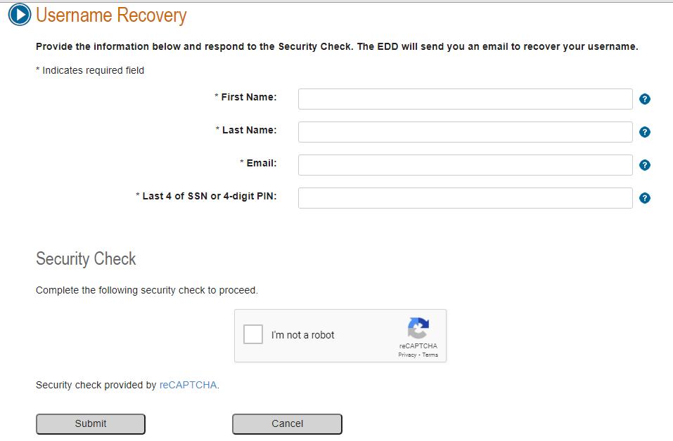 EDD forgot Username
