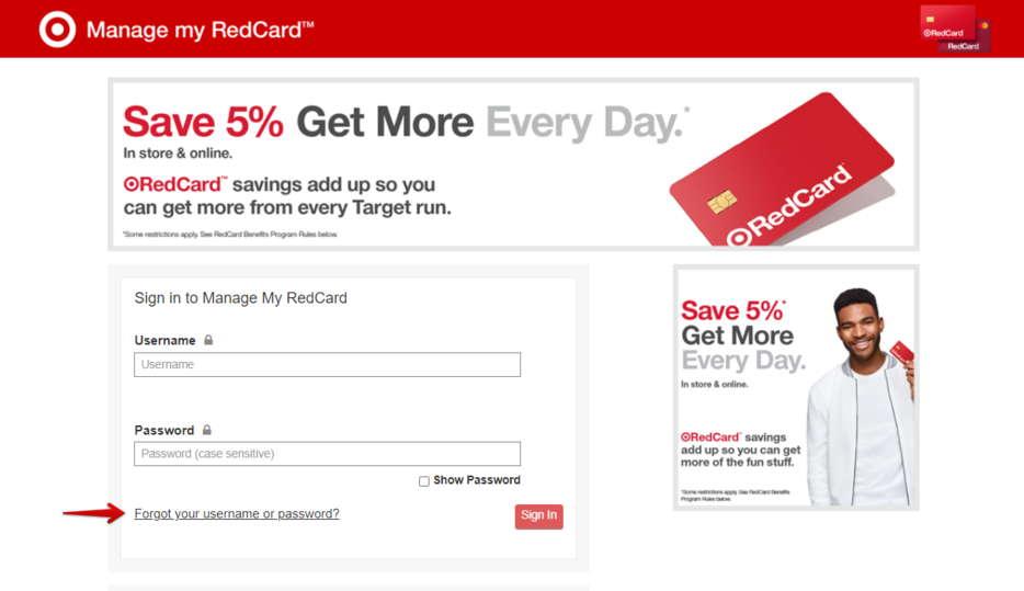 RedCard Forgot Password or Username
