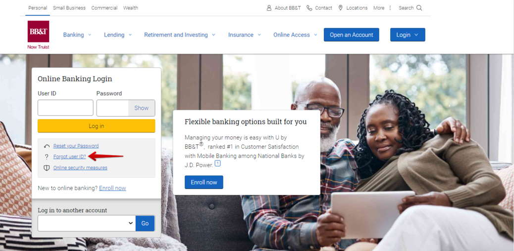 BBT Forgot Online Banking user id
