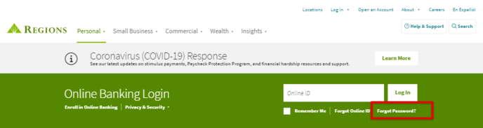 Regions Bank Online Banking Forgot Password