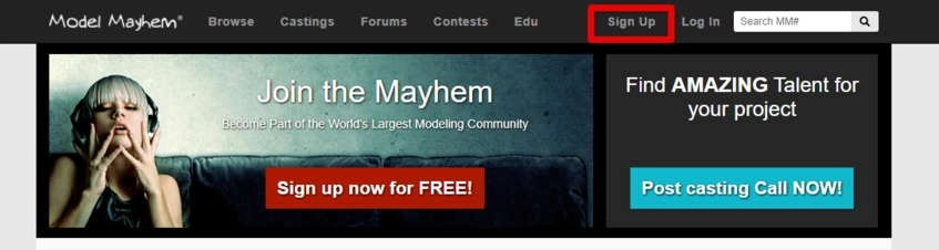 Model Mayhem Sign Up