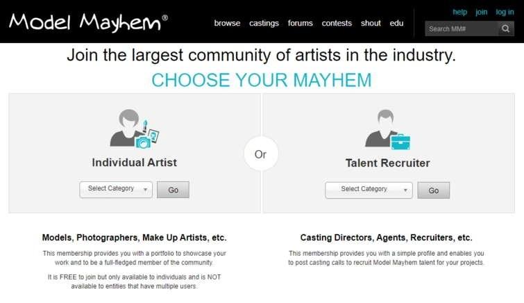 ModelMayhem Select account type