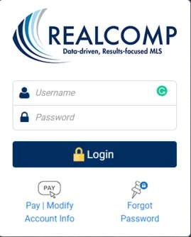 Realcomp Login page