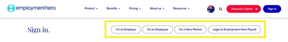 Employment Hero Sign In type