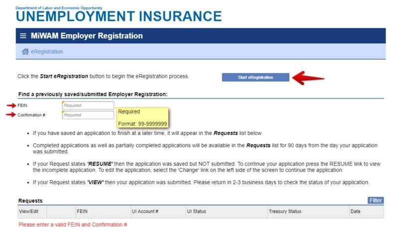 MiWAM Employer Registration of business