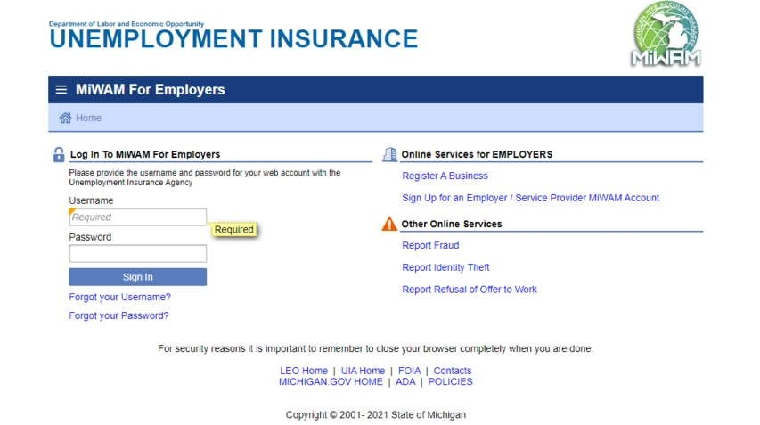 MiWAM For Employers Login Page