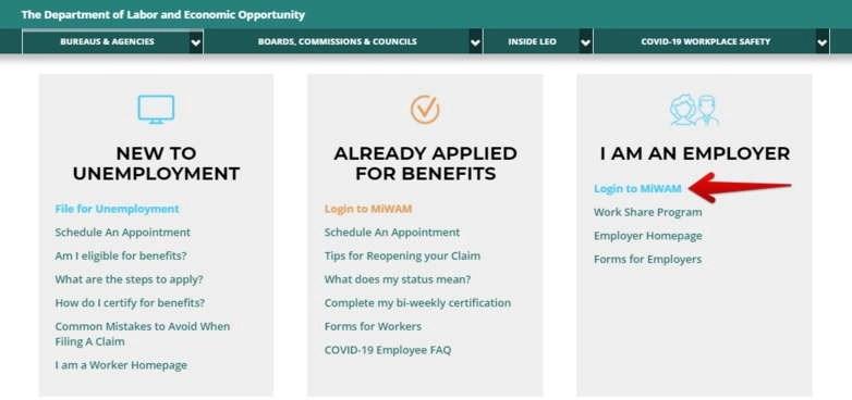 MiWAM login for Employers