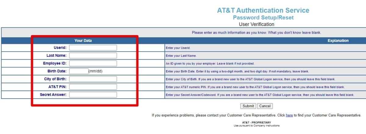 MyCSP AT&T Global Login Reset Password