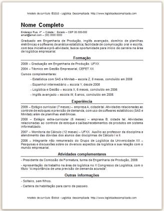 modelo exemplo de currículo grátis CV download
