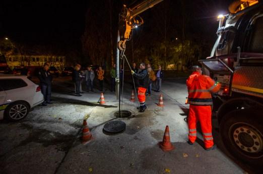 Demonstration einer Kanalreinigung