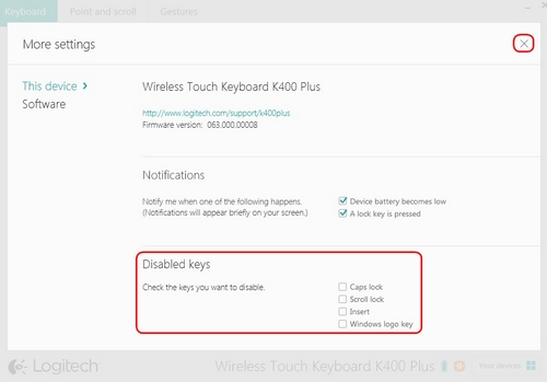Disable keys on the K400 Plus keyboard with Logitech Options