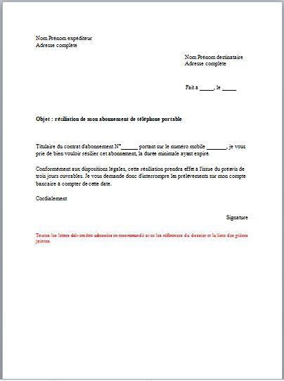lettre resiliation abonnement