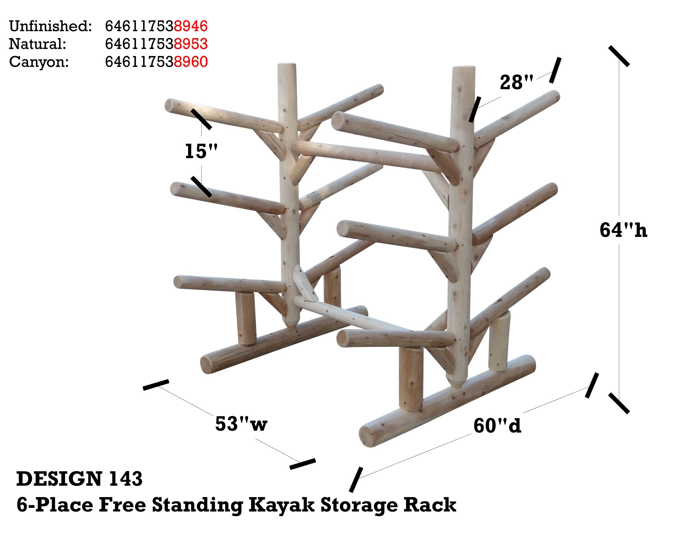 freestanding kayak sup rack cedar