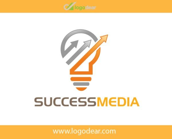 uccess Media Company Modern Bulb Graph vector Logo design