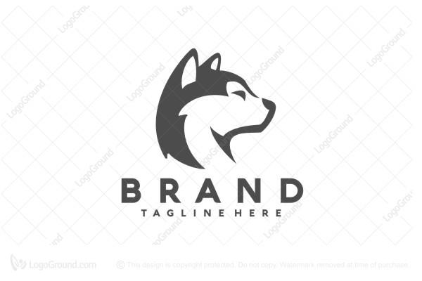 White Husky Head Logo