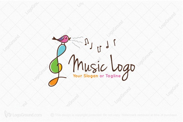 Musical Note Symbol Cafe Logo