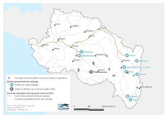 Fronts de colonisation de la lamproie marine sur les cours d'eau du bassin de la Loire en 2017