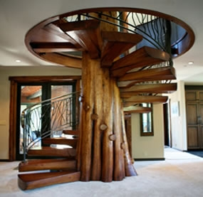 Stairmeister Spiral Stairs   8 Foot Spiral Staircase   Stair Railing   Winding Staircase   Stair Parts   Wood   Modern Staircase
