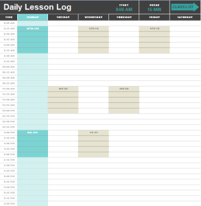 Daily Lesson Log Template