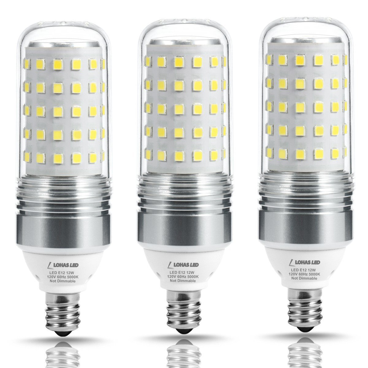 LOHAS 100W Equivalent LED Candelabra Light Bulbs,12W LED