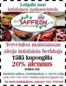 Ravintola Saffronista myös kotiinkuljetuksella