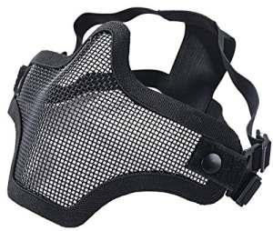 Maille en acier tactique Masques Demi Crâne Masque Visage équipement de protection pour airsoft Masque Halloween, Noir