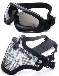 2 in 1 Masque de Tactique Métallique de Protection + Lunettes Tactique X400 Protection Ski Airsoft Paintball