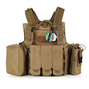 Pellor Gilet Tactique Militaire Airsoft Paintball Chasse Lourde Molle Veste de Protection Combat Police Armé Equipement CS RAS Taille Réglable (Vert kaki)