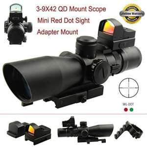 PROSUPPLIES — FS Gen II Tactical 3-9X42 QD Mount Red, Green Illumination Scope with mini Red Dot Sight by PROSUPPLIES