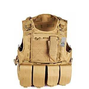 Anzer Gilet tactique militaire Molle avec 4 pochettes amovibles Porte plaque – équipement pour Chasse Airsoft Survie Aventure, marron