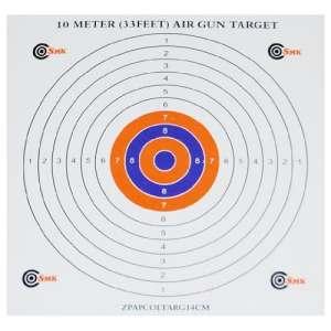SMK Lot de 100 cibles de tir en papier de qualité pour pistolet à air comprimé 14 x 14 cm 10 m