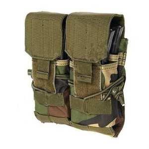 PORTE CHARGEUR 2 POCHES POUR AK M4 M16 CAMO WOODLAND