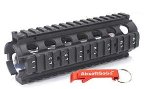 Cyma CNC M?tal Aluminium 20mm RAS Garde-main pour Airsoft AEG M4 S?rie CQB – AirsoftGoGo Porte-cl?s Inclus